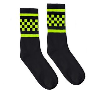 Other - NWOT USA-Made Neon Checkered Crew Socks